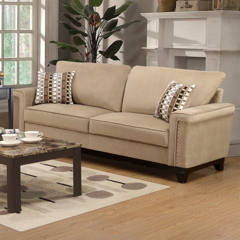 Opulence Casual 2pc Taupe Sofa Set Nail Head Trim Living Room Furniture Loveseat