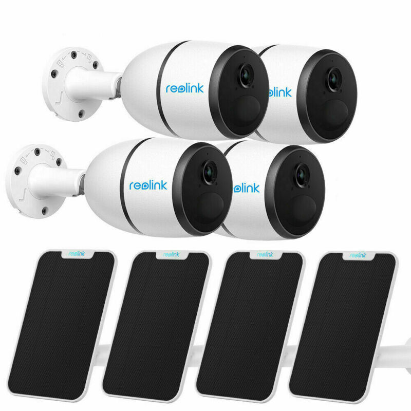 4-Set 100% Wire-Free 4G LTE Mobile HD Security Cameras Reolink Go w/ Solar Panel