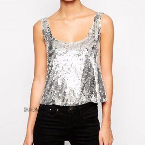 Women sequin low cut vest crop tank top shiny metallic for Silver metallic shirt women s