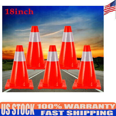 5pcs 18 Red Reflective Road Traffic Cones Road Safety Parking Construction Cone