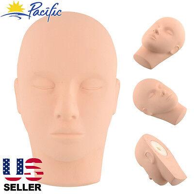 Soft Rubber Training Practice Mannequin Head Makeup Massage Free 3 Eyelashes