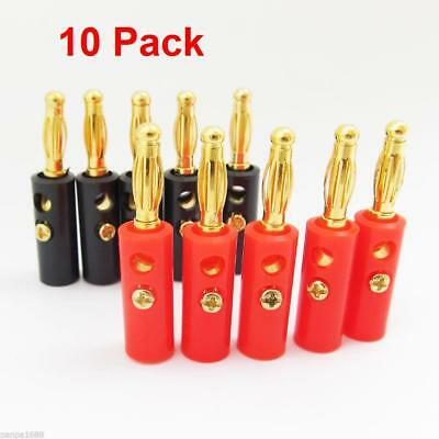 10 Pack 4mm Gold Plated Audio Speaker Wire Cable Screw Banana Plug Connector
