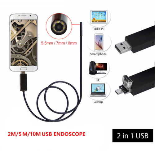 720P HD 2in1 USB Waterproof Endoscope Snake Tube Camera For