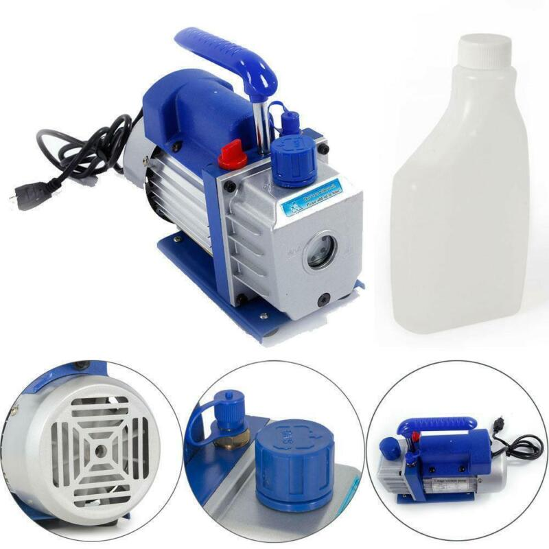 3CFM Rotary Vane Vacuum Pump Single Stage HVAC 1/4HP Air Conditioning A/C Deep