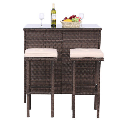 3PCS Outdoor Wicker Bar Set Patio Furniture Table & 2 Stools w/Cushions Brown