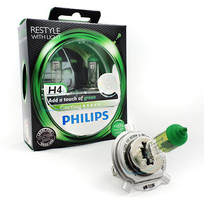 Philips H4 12V ColorVision Color Vision green +60% mehr Licht 2st. 12342CVPG - 115 Ge Lampen