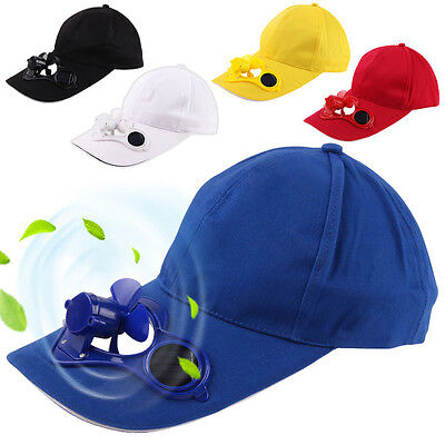 Outdoor Novelty Sports Hats Sun Solar Power Hat Cap with Cooling Fan Summer USA - Sports Novelties