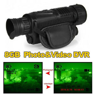 Tactical IR Infrared Night Vision Monocular Scope 200m 5X40 Zoom Record DVR Pics