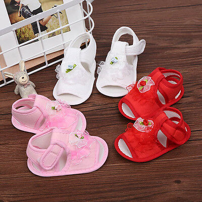 Cute Infant Baby Girls Crib Shoes Soft Sole Anti-slip Sneakers Flower Sandals UK ()