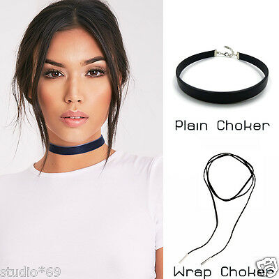 Retro Women Black Velvet Boho Choker Necklace Long Rope Silver Leaf Plain 20mm