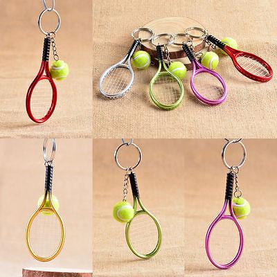 Mini Tennis Ball Racket Charm Pendant Keyring Key Chain Sports Fans Collectibles