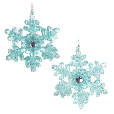 Acrylic Icy Snowflakes Christmas Ornaments, Blue, 4-Inch, - Acrylic Snowflakes