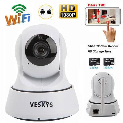 Wireless 1080P HD Pan/Tilt IR Network Security CCTV Camera WiFi IP Webcam IR-CUT