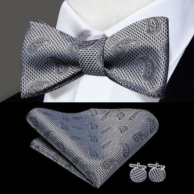 USA Black White Paisley Self Bow Tie Mens Silk Necktie Bowtie Set Wedding