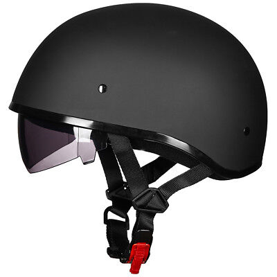 ILM Motorcycle Half Face Helmet with Sun Visor Quick Release Strap Bike Cruiser
