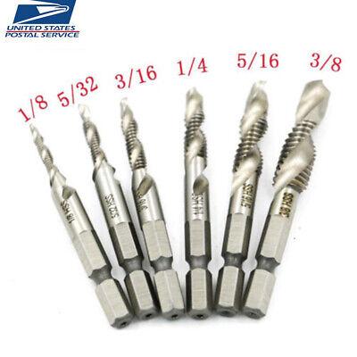 6PCS Hex Shank HSS Spiral Screw Thread Taps Drill Bits Set for Hole Wood