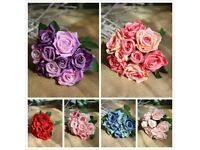 ARTIFICIAL SILK FLOWERS VINTAGE ROSE BUNCH 9HEADS 1BUNCH 27CM Home WEDDING PARTY