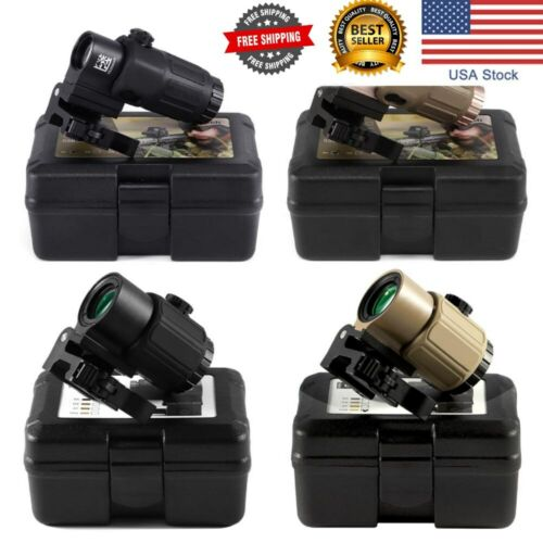 3x Magnifier Sight G43 G33 Dot 558 Red Mount Switch Side Holographic Collimator