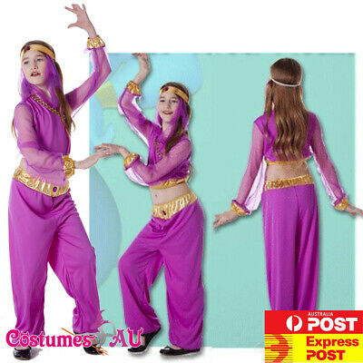Girls Arabian Genie Aladdin Arab Jasmine Princess Costume Purple Fancy Dress - Purple Princess Jasmine Costume