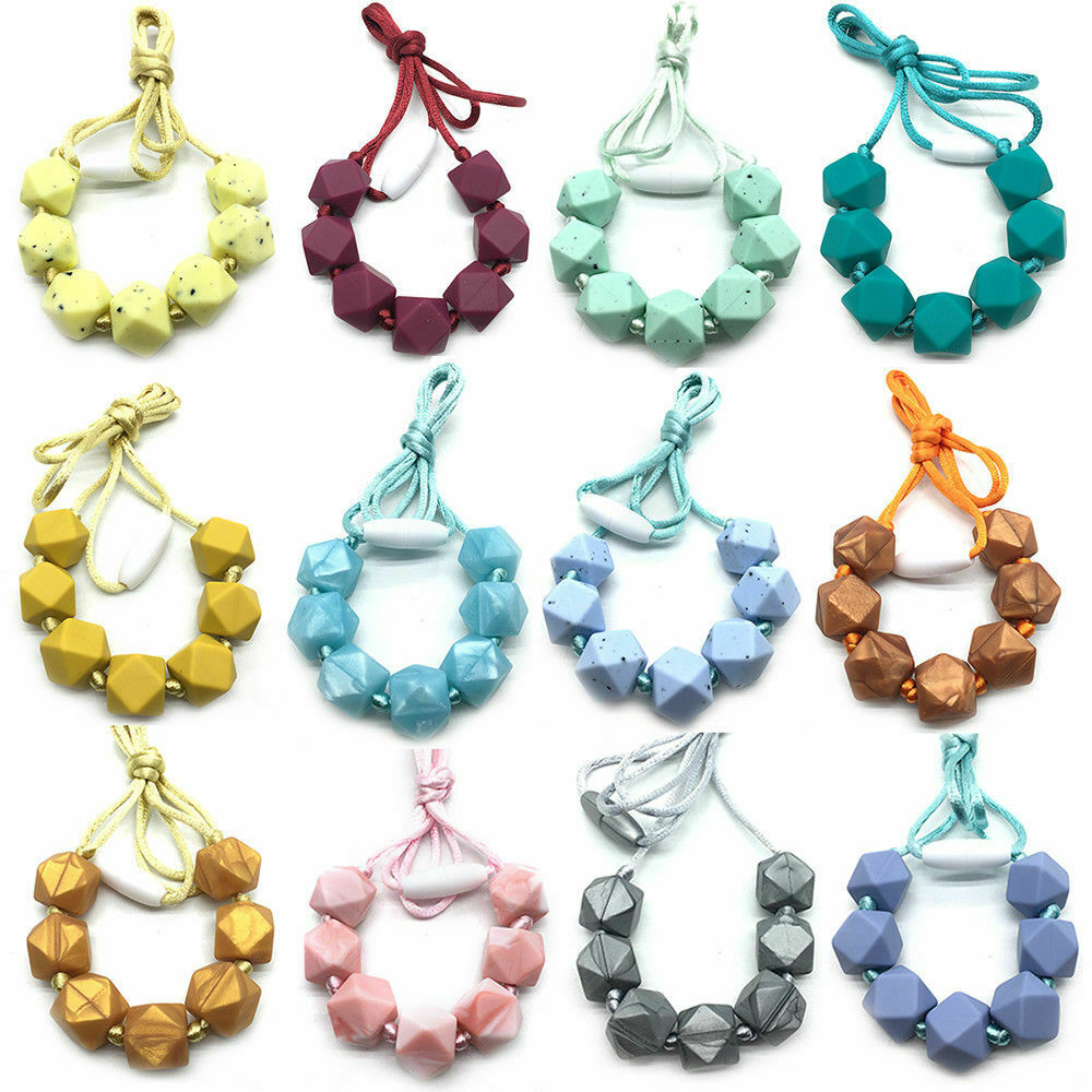 Silicone teething beads necklace baby sensory jewellery teether FREE POSTAGE