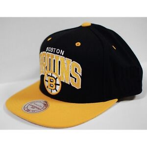 Mitchell & Ness Boston Bruins NHL Vintage Arch Snapback Hat Cap - Black / Yellow