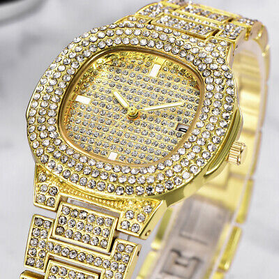 Men Hip Hop Iced Bling Diamond Watches Luxury Date Quartz Watch For Mens Womens