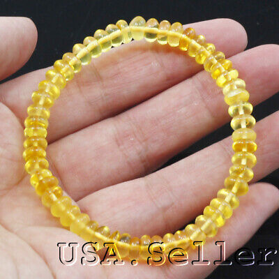 25CT 100% Natural Golden Yellow Amber heish Beads 7mm Stretch Bracelet 6.5
