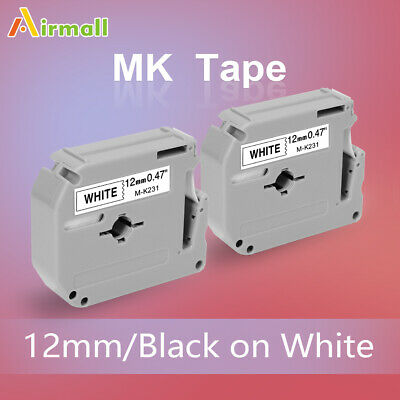 2pk For Brother P-touch M-k231 M-231 Black On White Label Tape 12mm Pt-65 Pt-70