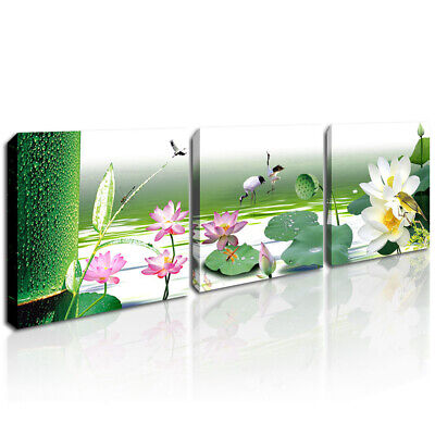 Flower Bird Landscape Painting Canvas Print Framed Lotus Wall Art Decor Pictures