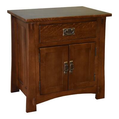 Mission Quarter Sawn Oak 2-Door 1-Drawer Nightstand / End Table 2 Door Nightstand