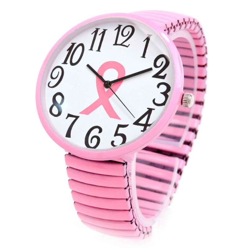 Pink Ribbon Breast Cancer Super Size Women's Stretch Watch
