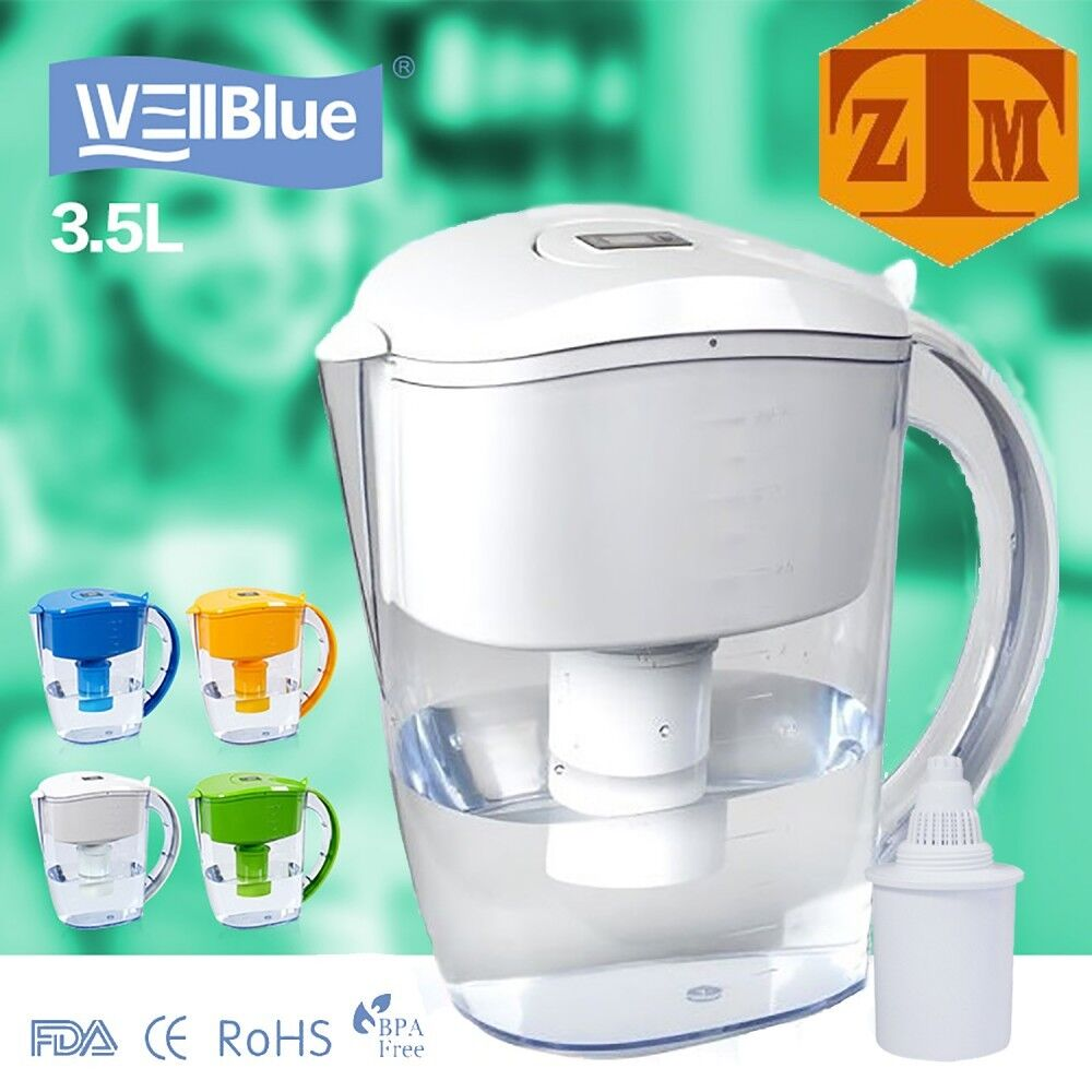 ALKALINE pH PLUS WHITE ionized Water PITCHER, 3.5 L By WellB