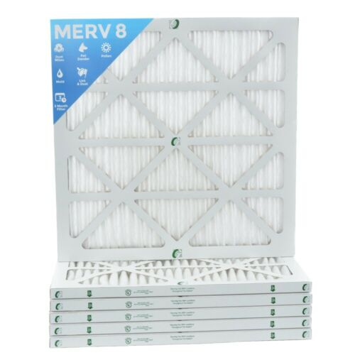 20x20x1 MERV 8 Pleated AC Furnace Air Filters.    6 Pack