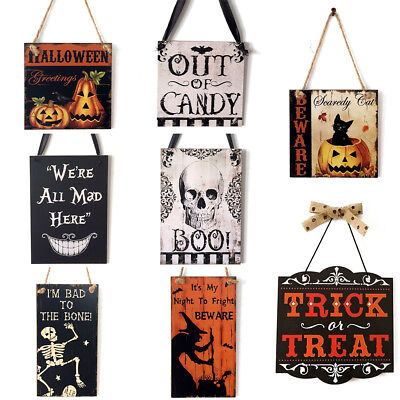 Wooden Hanging Sign Halloween Decor Boo Trick Or Treat Door Wall Greeting Board