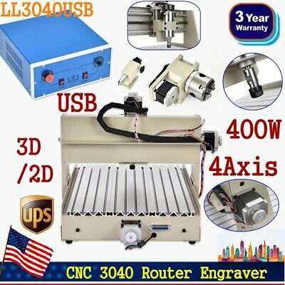 Usb 4axis 3040 Cnc Router Engraver Engraving Milling Machine 110v Desktop 400w
