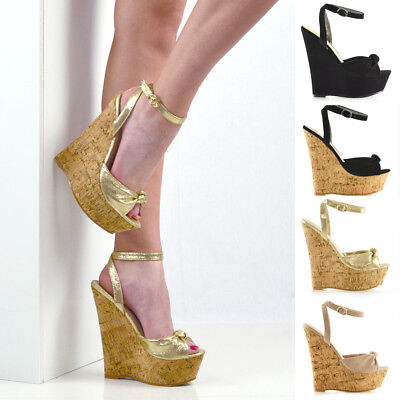Womens Strappy Knot Two Party Wedge Heel Platform Sandals Ladies Peeptoe Shoes - Womens Strappy Wedge Sandal