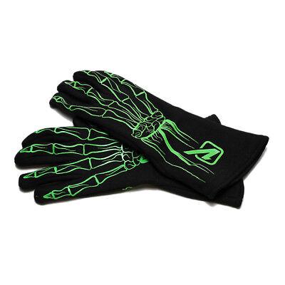 Velocita 165 Safety Driving Gloves Racing 2 Layer Skeleton SFI Green X-Large