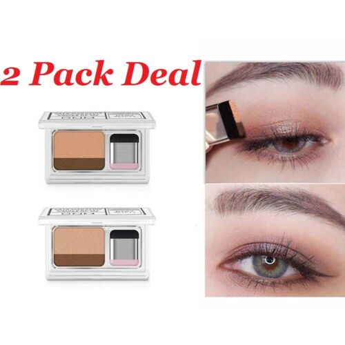 2Pack 3 Seconds Eyeshadow Makeup Double Layer Coloured Gradation Cosmetic Brush Eye Shadow