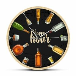 Happy Hour Beer Wine Time Wall Clock Booze Whiskey Funny Pub Bar Decor Man Gift