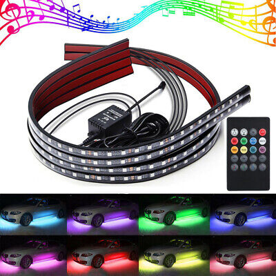 Car Underglow Lights Exterior Ambient Light Music Remote Control Neon Strip Lamp