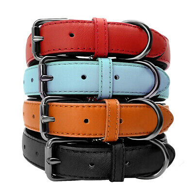 PU Leather Dog Pet Puppy Collar Soft Padded Comfortable Adjustable 4Colors S/M/L ()