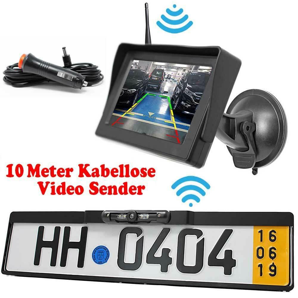 Rückfahrkamera + Kennzeichenhalter Autoscheibe Monitor PKW Auto Transpoter Funk