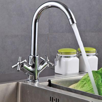 Kitchen Bathroom Sink Taps Mono Twin Lever Curved Chrome Swivel Spout Faucet UK Curved Spout Kitchen Faucet