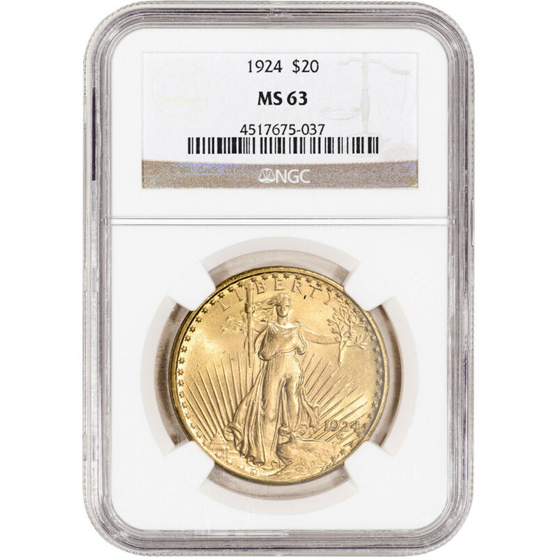 1924 US Gold $20 Saint-Gaudens Double Eagle - NGC MS63