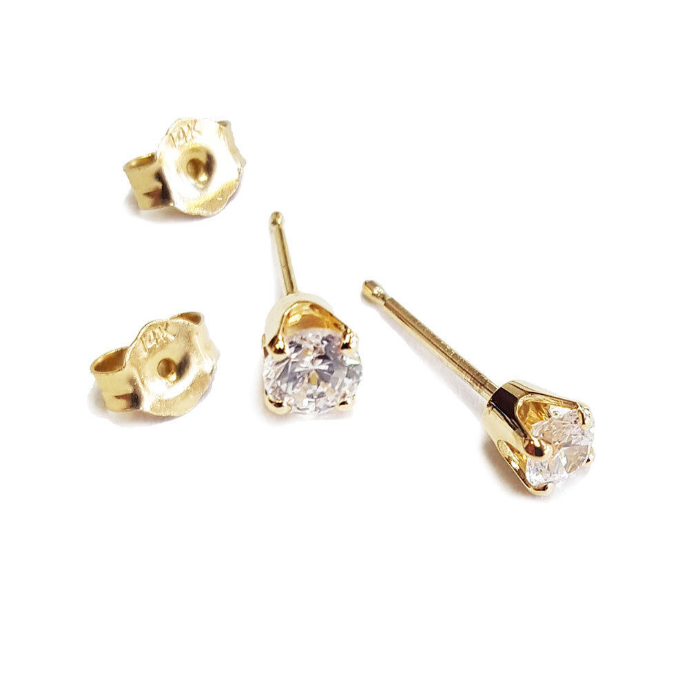$39.00 - 14K YELLOW GOLD REAL NATURAL DIAMOND STUD EARRINGS ROUND PAIR H-I SI