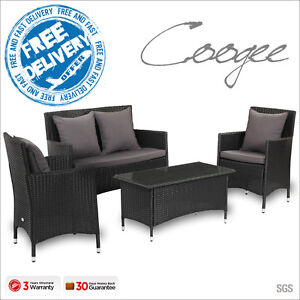 Luxo Coogee Black 4 Piece PE Wicker Outdoor Sofa Lounge Furniture Set Setting