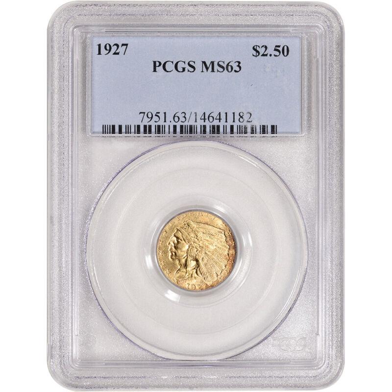 1927 US Gold $2.50 Indian Head Quarter Eagle - PCGS MS63