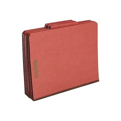 Staples Classification Folders 25-cut Top Tab Ltr 1 Divider Red 10bx 807771
