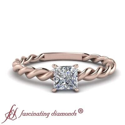 1/2 Ctw. Princess Diamond Twisted Rope Design Solitaire Engagement Ring FLAWLESS