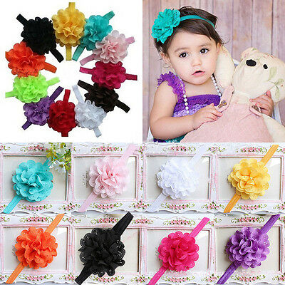 Cute Girl Baby Toddler Infant 12pcs Flower Headband Hair Bow Band Accessories